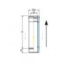 Elemento lineare da 0,5 m coassiale polipropilene (PPs) inox