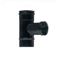 """Raccordo a """"T"""" 90° uscita femmina ridotta a Ø 80 mm inox verniciato nero monoparete"""